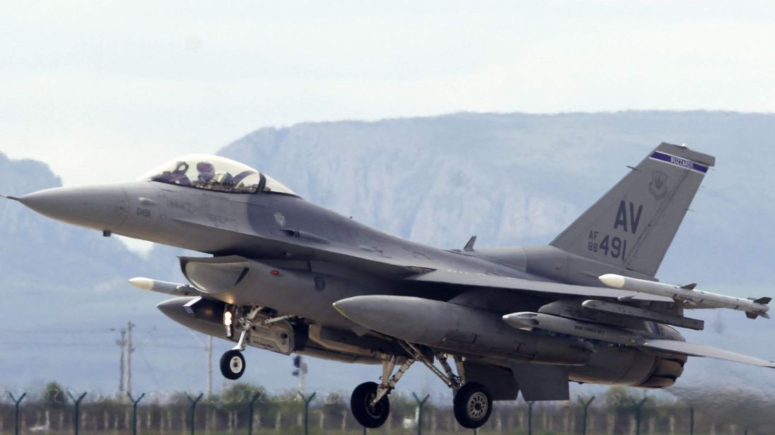 A F-16 fighter jet belonging to the U.S. Air Force takes off during bilateral one-week training exercises in Transylvania