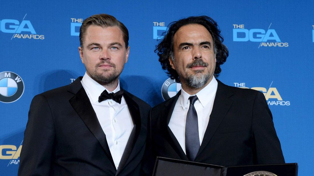 Leonardo DiCaprio presents the Feature Film Nomination to Alejandro G. Inarritu during the 68th annual DGA Awards in Los Angeles