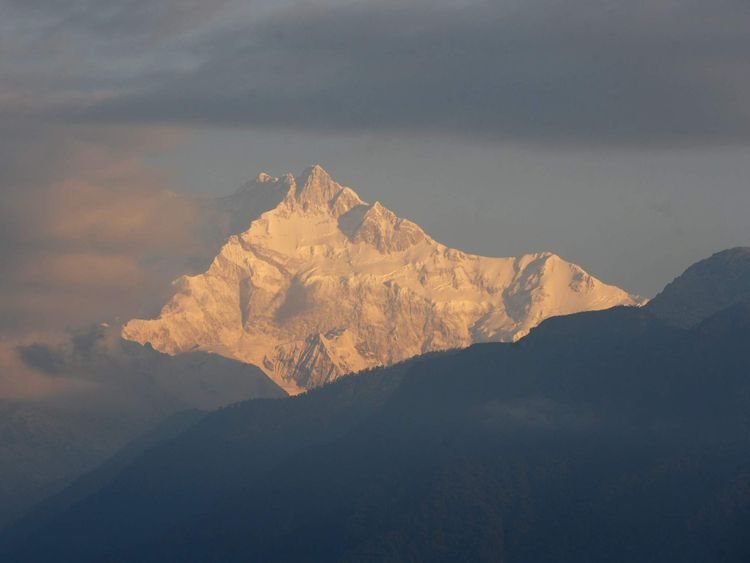 View over the mountains toward Everest and K2 from India's Sikkim state.