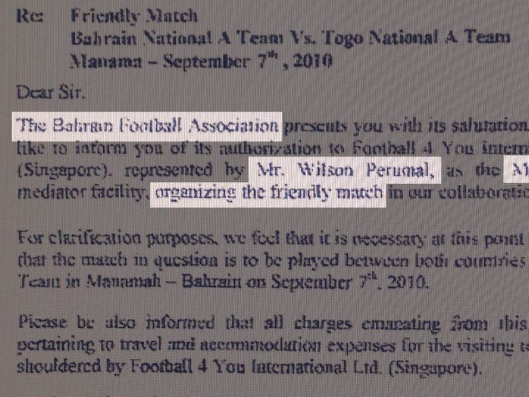 The Bahrain Football Association authorised a convicted match-fixer to organise a friendly international on its behalf while under the leadership of the favourite to become the next president of FIFA, Sky News can reveal.