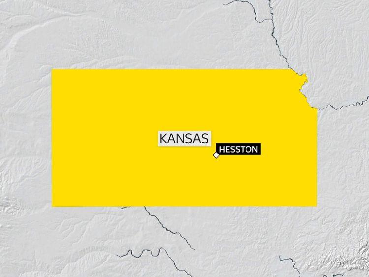 Map of Kansas showing Hesston