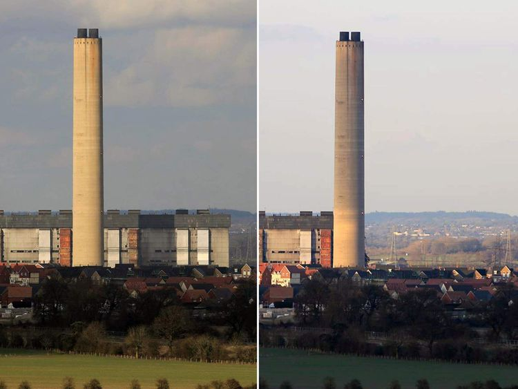 Didcot power station before & after collapse