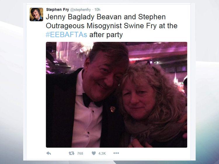 Stephen Fry with Jenny Beavan