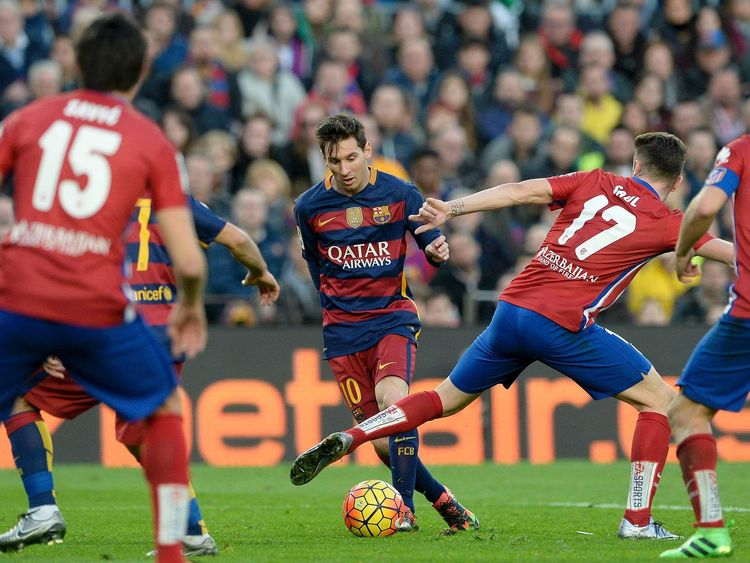 Barcelona forward Lionel Messi in action against Atletico Madrid.