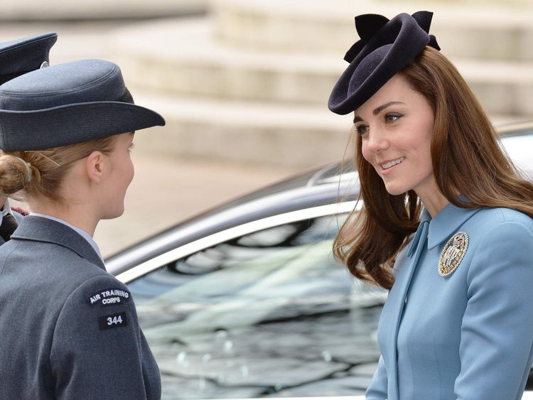 The Duchess of Cambridge arrives at St Clement Danes Church in central London, to attend a service to mark the RAF Air Cadets 75th anniversary.