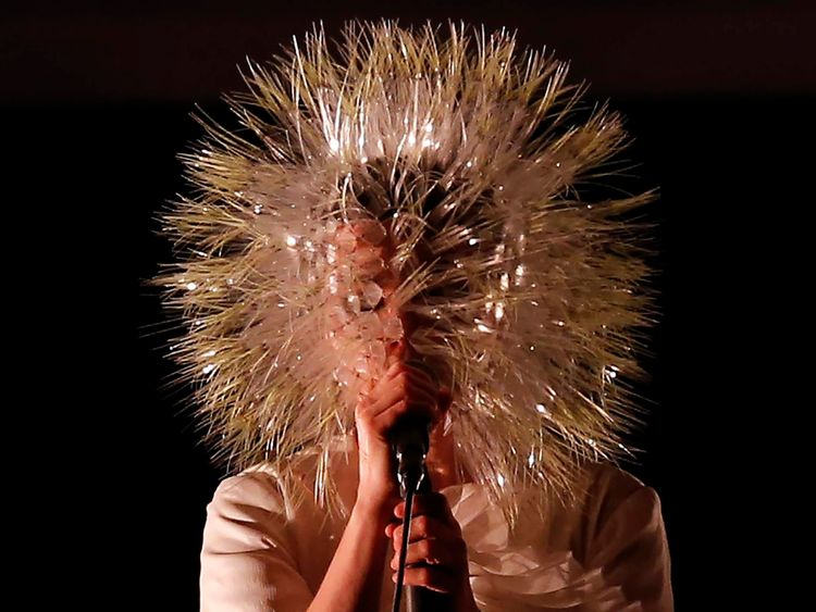 Icelandic singer Bjork performs during a concert at the Kings Theater in the Brooklyn borough of New York City