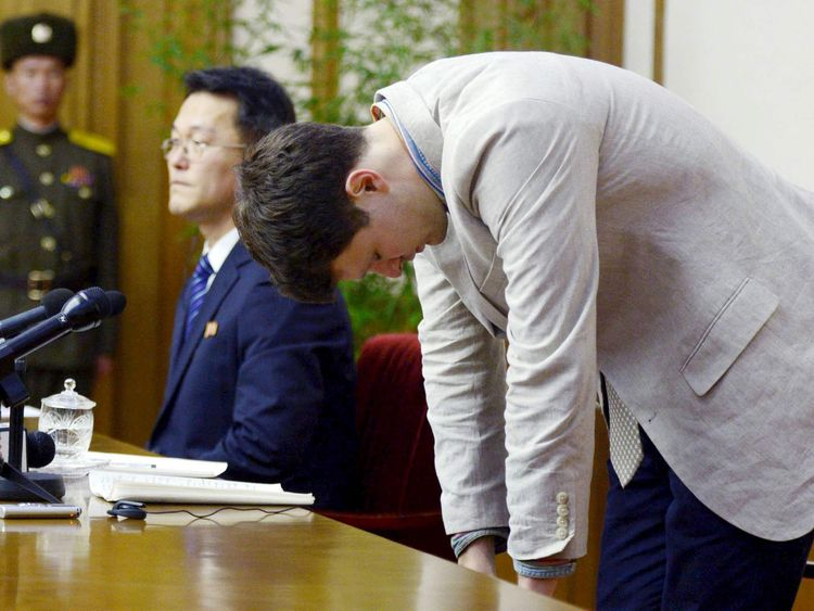 Otto Warmbier, a University of Virginia student who has been detained in North Korea since early January, bows during a new conference in Pyongyang, North Korea