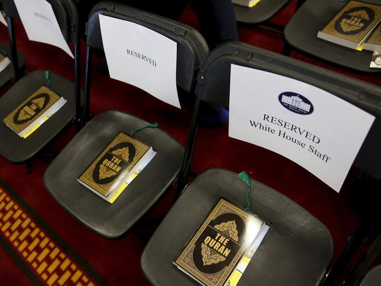 Copies of the Koran sit on chairs, including those reserved for White House staff