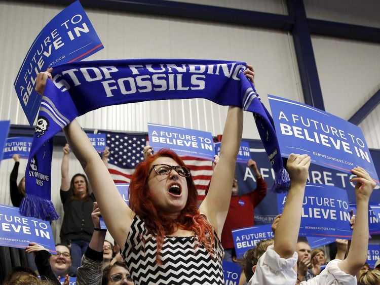 Supporters of Democratic U.S. presidential candidate Bernie Sanders