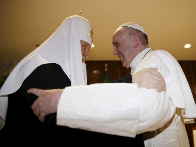 Russian Orthodox Patriarch Kirill and Pope Francis embrace in Havana