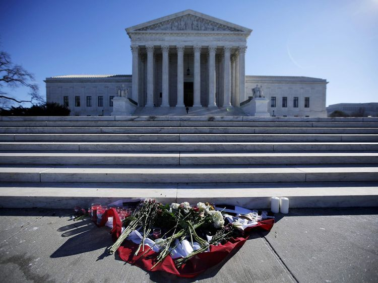 Flowers are seen in front of the Supreme Court building in Washington D.C. after the death of U.S. Supreme Court Justice Antonin Scalia