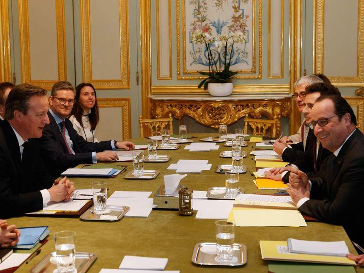 David Cameron and Francois Hollande meet at the Elysee Palace in Paris