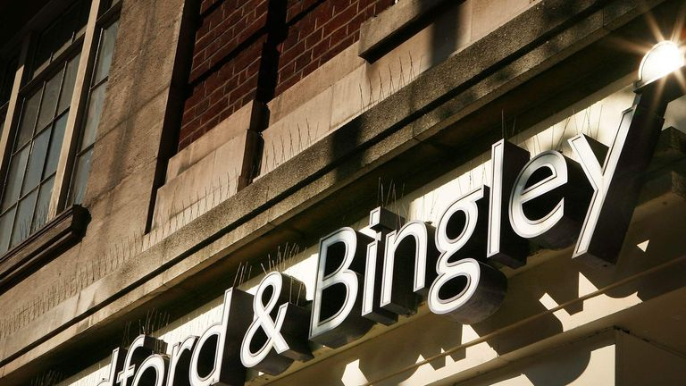 A sign above a branch of Bradford and Bingley