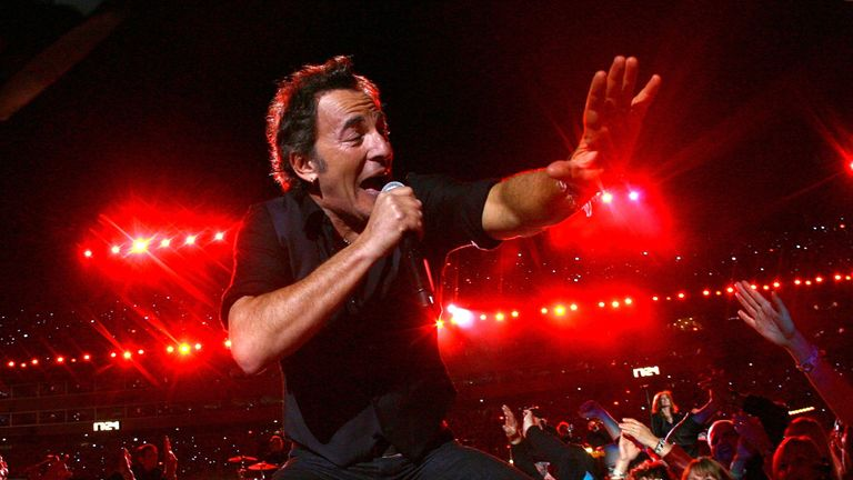 TAMPA, FL - FEBRUARY 01:  Musician Bruce Springsteen and the E Street Band  perform at the Bridgestone halftime show during Super Bowl XLIII between the Ar
