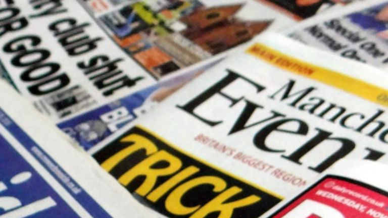 Trinity Mirror publishes regional titles including the Manchester Evening News