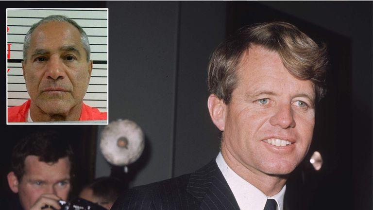 Robert Kennedy and Sirhan Sirhan (inset)