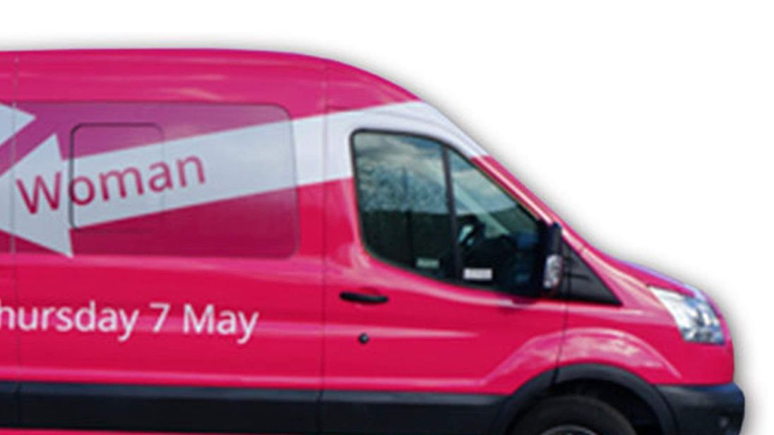 A pink minibus which has been launched by Labour to encourage women to vote.
