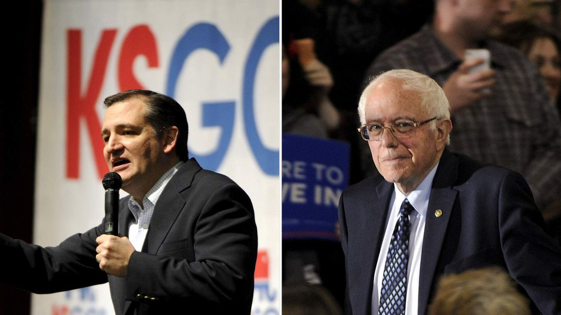 Ted Cruz (L) and Bernie Sanders (R)