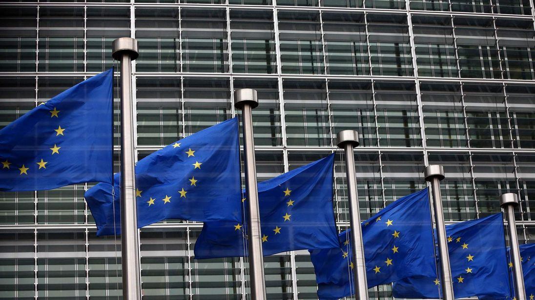 European Union flags are pictured outside the European Commission building in Brussels