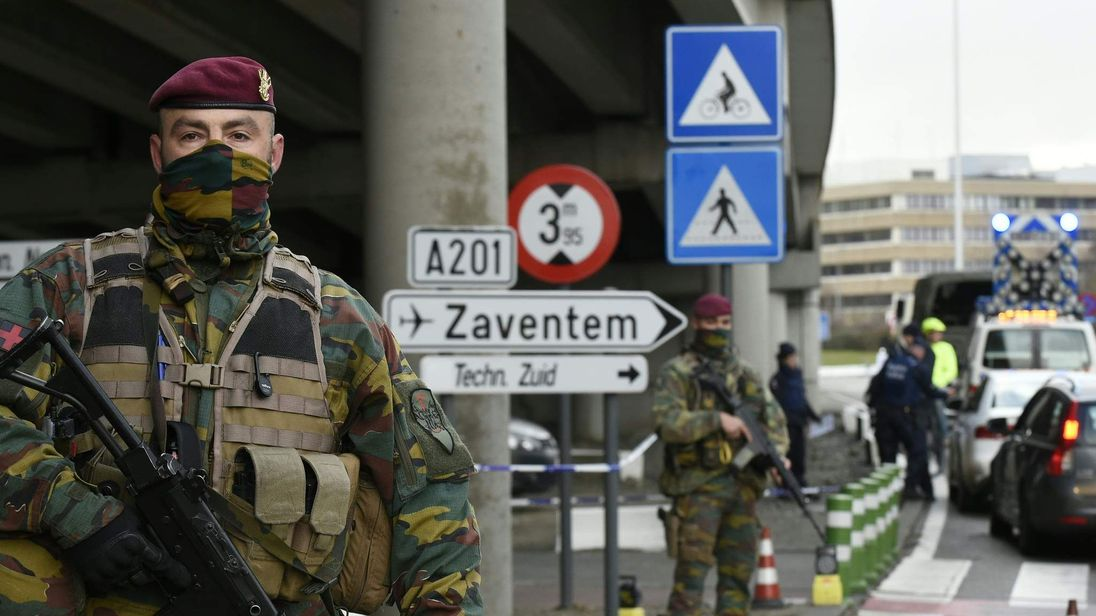 Soldiers outside Zaventem airport
