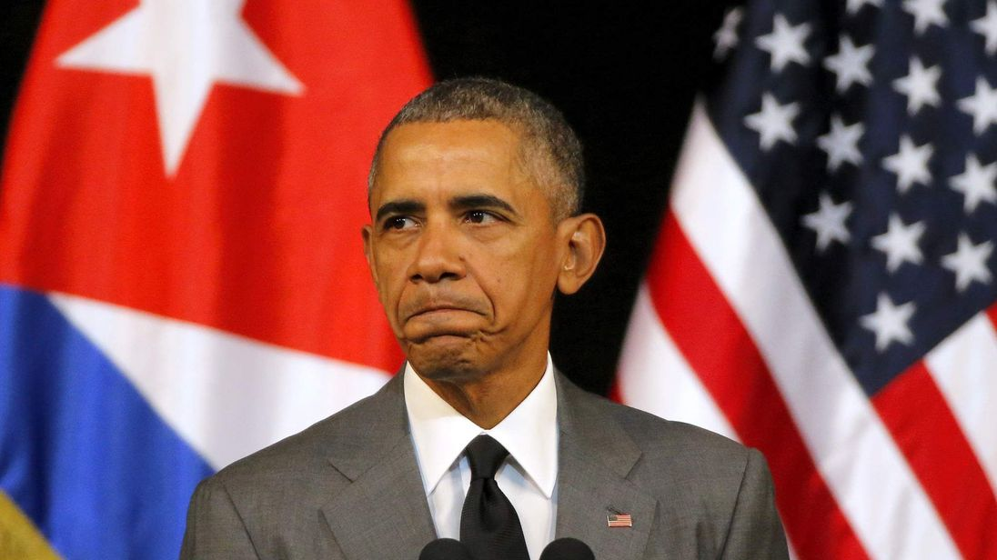 U.S. President Barack Obama delivers a speech at the Gran Teatro in Havana Cuba