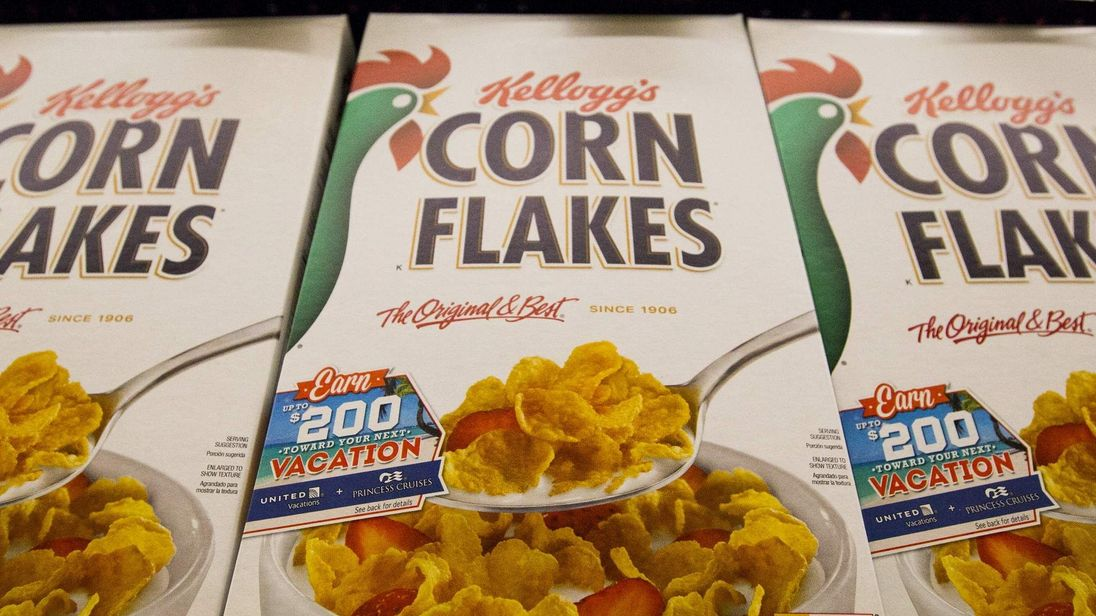 Kellogg's Corn Flakes cereal is pictured at a Ralphs grocery store in Pasadena