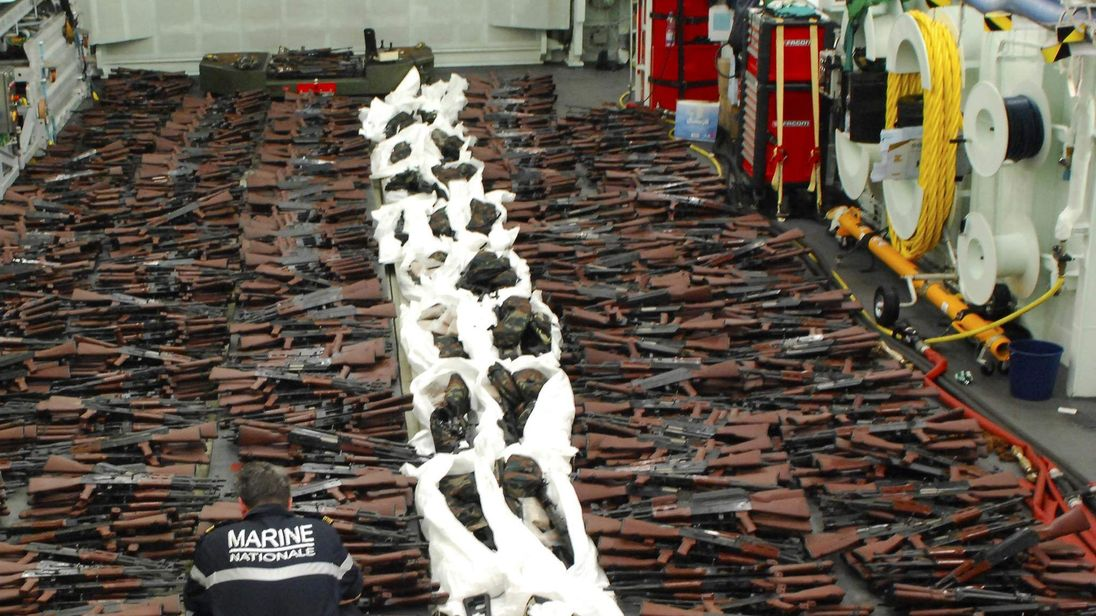 The huge arms cache on display