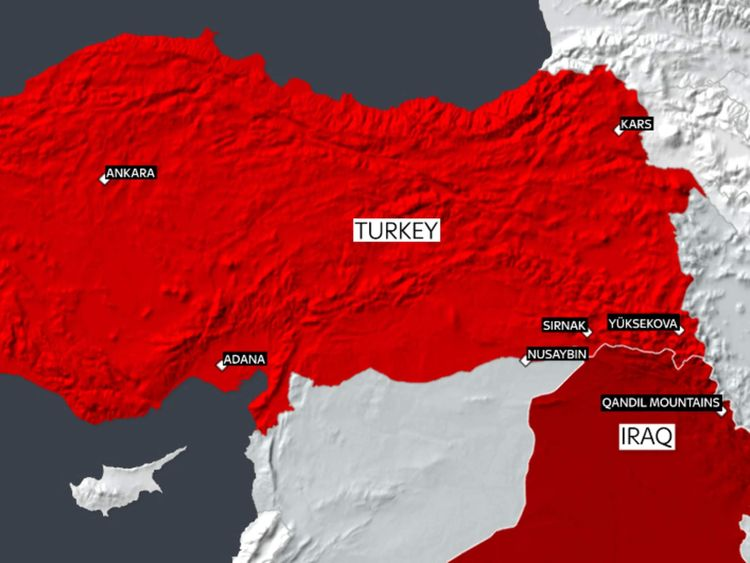 A map showing the location of Turkish attacks and army operations