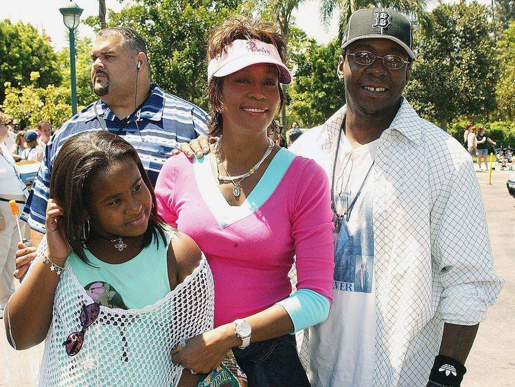 Whitney Houston, Bobbi Kristina and Bobby Brown at The Princess Diaries 2 Royal Engagement Film Premiere