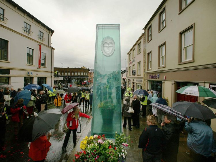 A glass obelisk memorial stands in Omagh in tribute to the 29 people killed when a bomb exploded in 1998.