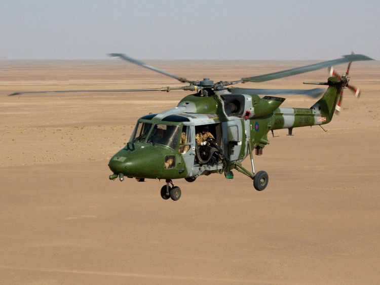 A picture issued by the MoD of a Lynx Mk9A helicopter flying over Afghanistan.