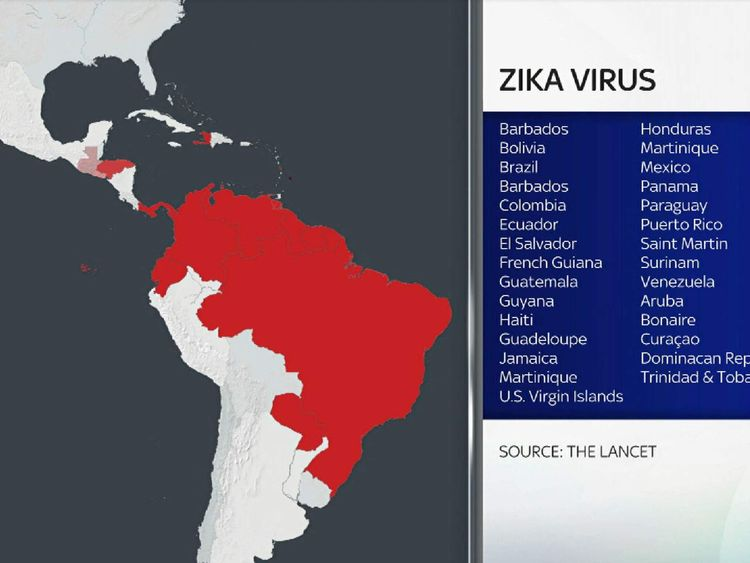 Map of countries where Zika has been found