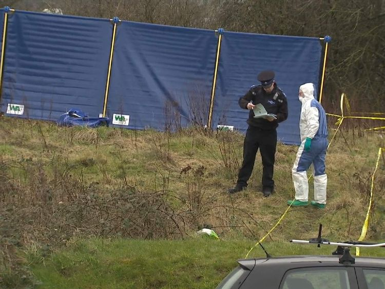 Police at the scene near The Mall in Bristol, where remains of DJ Derek are thought to have been found