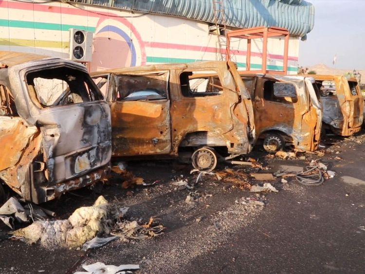 Yemen - row of vehicles destroyed in an airstrike