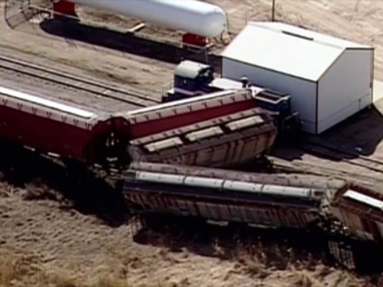 Train collides with propane truck