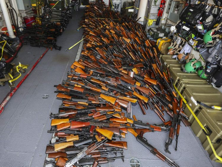 The haul included AK-47s, grenade launchers and machine guns.