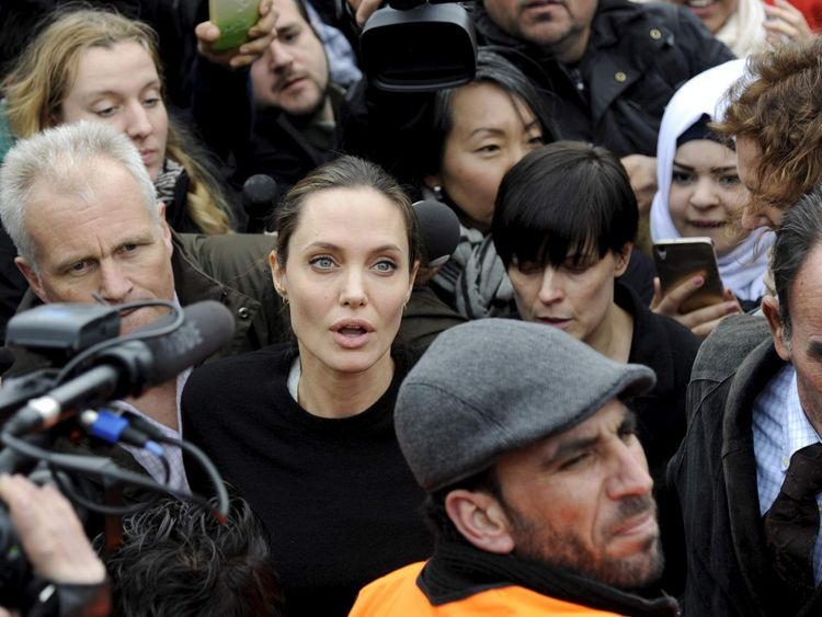 United Nations High Commissioner for Refugees (UNHCR) Special Envoy Angelina Jolie visits a shelter for refugees and migrants at the port of Piraeus, near Athens