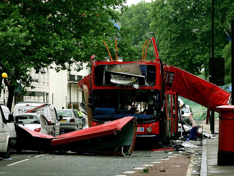 The bomb destroyed number 30 double-decker bus in Tavistock Square in central London July 8, 2005. P..