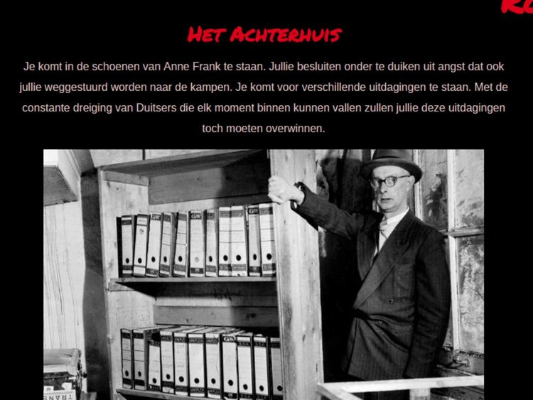 Escape room modelled on Anne Frank's hiding place from website