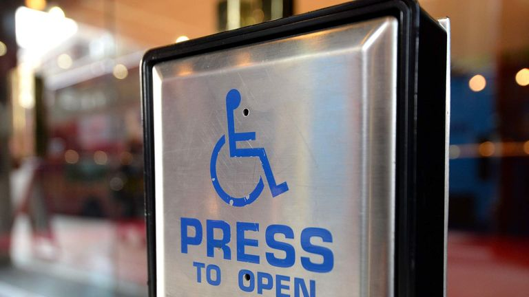 Disabled entrance to high street store