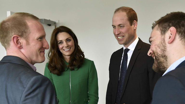 Duke and Duchess of Cambridge with Jonny Benjamin and Neil Laybourn (left)