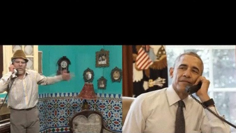 Obama swaps jokes with Cuban comedian