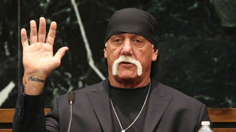 Terry Bollea, aka Hulk Hogan takes the oath in court during his trial against Gawker Media, in St Petersburg, Florida