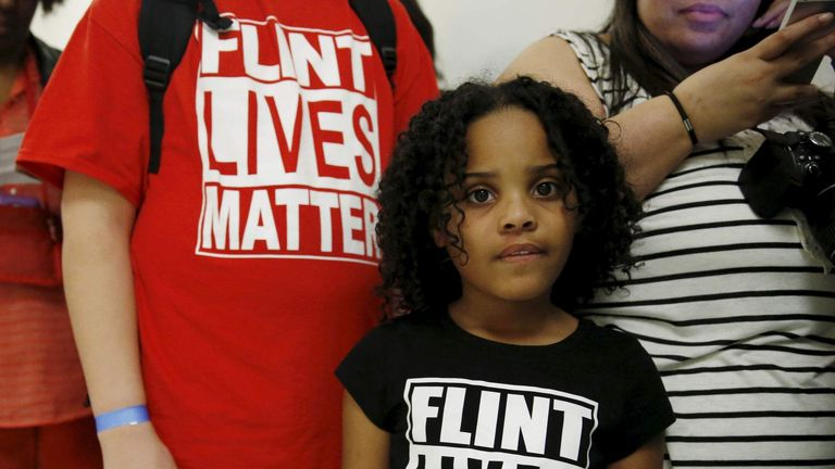 """Flint Michigan residents wait in line for a House Oversight and government Reform hearing on """"Examining Federal Administration of the Safe Drinking Water Act in Flint, Michigan, Part III"""" on Capitol Hill in Washington"""