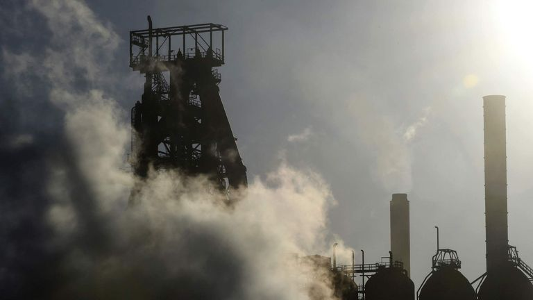 A general view shows a detail of the Tata steelworks in the town of Port Talbot