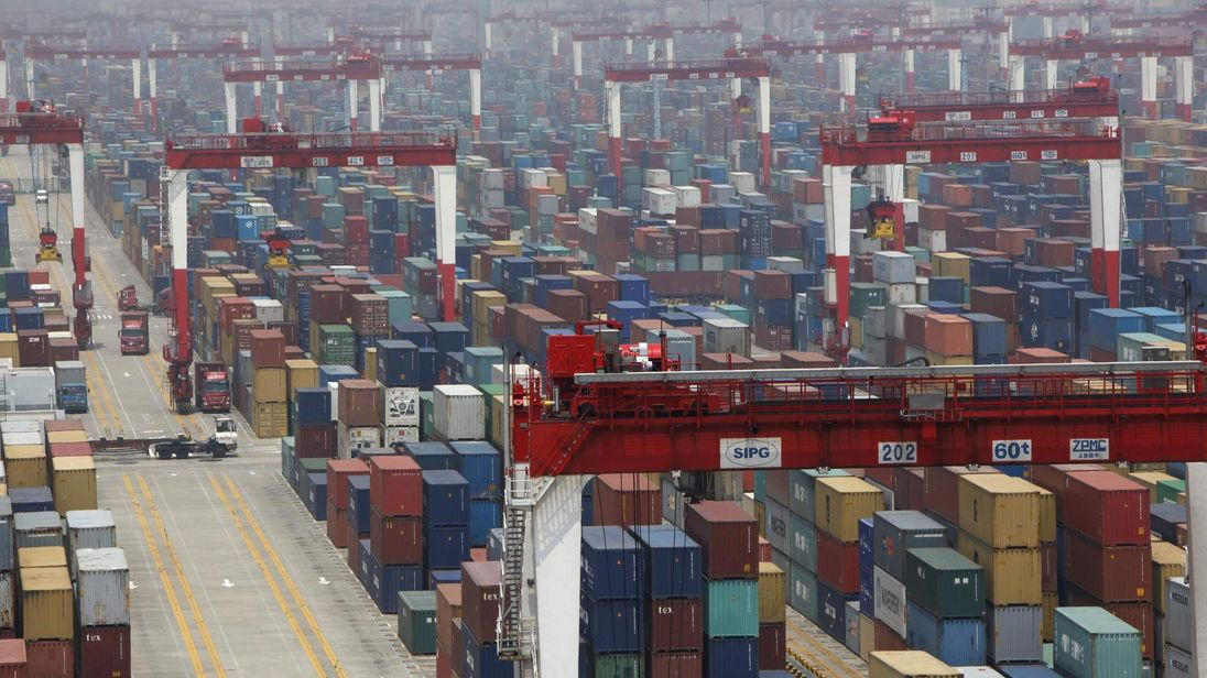 A general view of a shipping container area at Yangshan Port of Shanghai