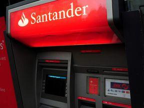 A Santander cash machine. File pic.