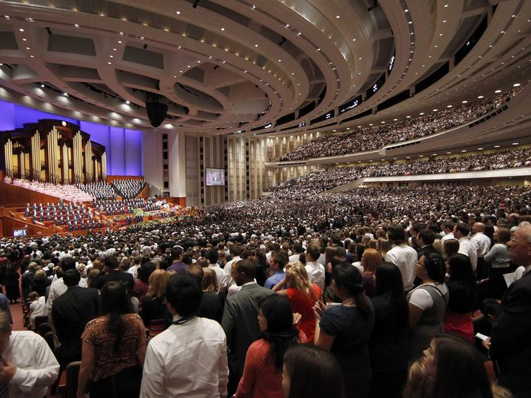 Thousand of faithful Mormons sing a song during the fourth session of the 181st Semiannual General Conference of the Church of Jesus Christ of Latter-day Saints in Salt Lake City