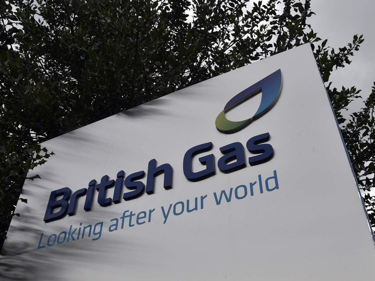 A British Gas sign is seen outside its offices in Staines in southern England