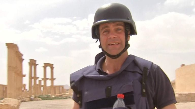Sky Correspondent John Sparks in the ancient Syrian city of Palmyra, which has been recaptured from Islamic State forces.